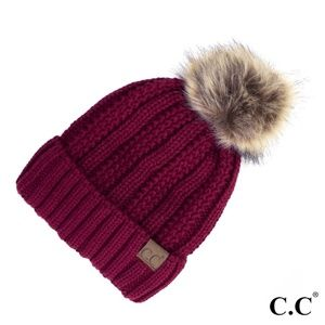 Fuzzy Lined Faux Pom CC Beanie JUST REDUCED 20%